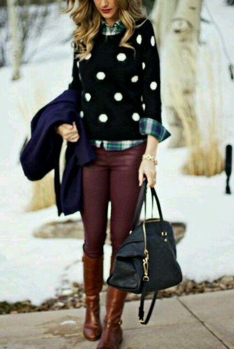Polka dots, maroon skinnies, tan riding boots and a plaid shirt!! <3