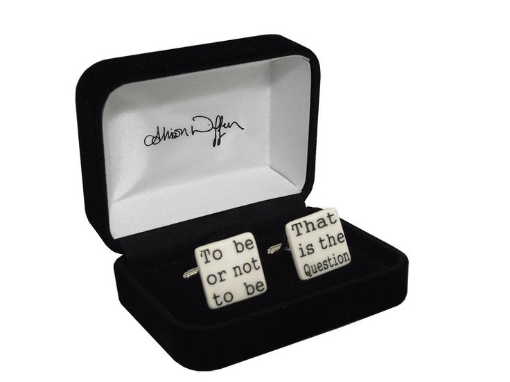 Our range of jewellery includes real rosebud earrings and these fab #Hamlet quote cufflinks.