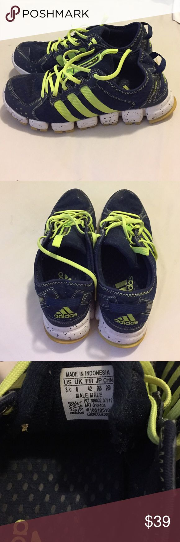 Adidas Trail Running Shoe, Size 8.5 Adidas Navy Trail Running Shoe with Lime Green Accent, Size 8.5 Adidas Shoes Athletic Shoes