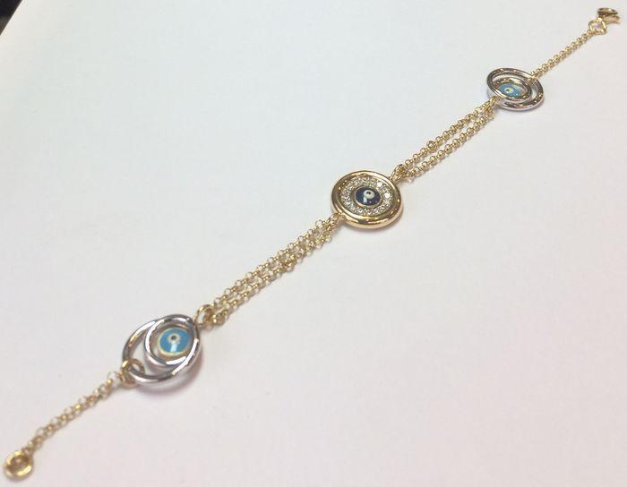 14 karaat bicolor gouden armband diamant 0 30ct - 17cm  1 x 14 karaat bicolor oude armband set met briljant geslepen diamants ca. 030 crt. P / HLengte 17 cm. gewicht 50 gram.Doosje opgenomen.  EUR 2.00  Meer informatie