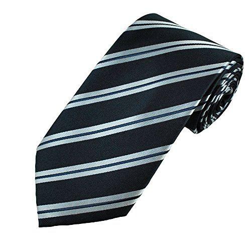 200 kr. Navy & Silver Blue Stripe Men's Silk Tie - Gift Boxed Tie…