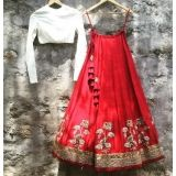 Red And White Silk Embroidered Lehenga