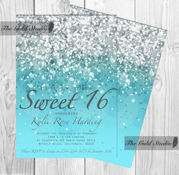 Customizable Blue Glitter Ombre Sweet sixteen 16 printable digital file, printing also available, glamorous modern birthday party JPEG PDF