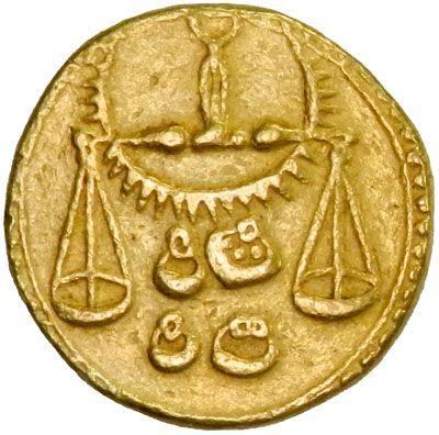 MUGHAL: Jahangir, 1605-1628, AV zodiac mohur, Agra, AH1032 year 18, KM-180.13, Libra (scales), NGC graded EF45, RRR. Estimate $35,000-45,000