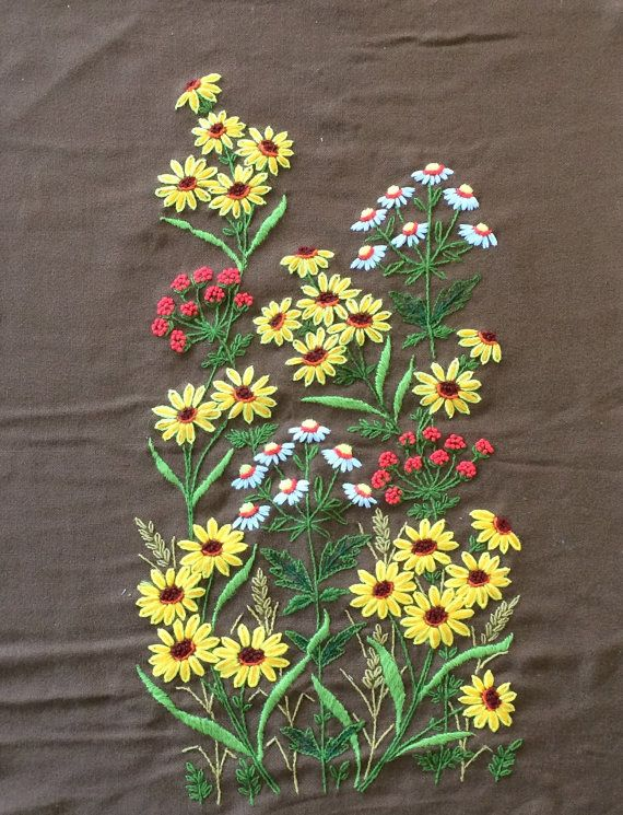 Wildflowers 70s Vintage Large Needlepoint Yellow by JennyandPearl