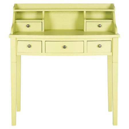 Finished in avocado green for eye-catching appeal, this essential writing desk showcases 5 drawers and hutch-inspired open storage.