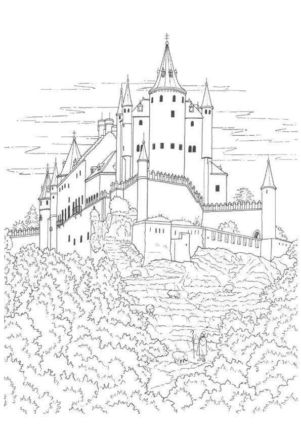 Coloriage Coloriage Chateau Fort Pinterest Coloriage