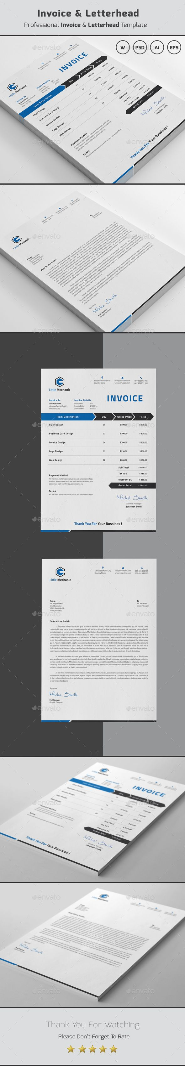 Company Invoice & Letterhead Template - #Invoice #Letterhead #Stationery Print Template. Download here: https://graphicriver.net/item/invoice-letterhead/19450591?ref=yinkira