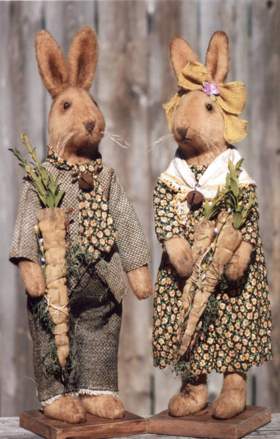 Primitive PATTERN Bella and Benson Bunny by HappyHeartPatterns