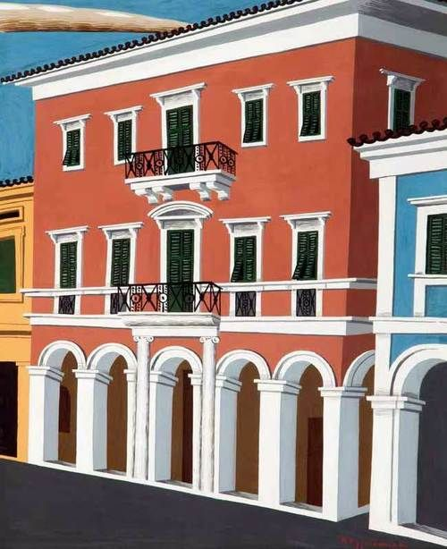 Houses in Greek painting - Nikos Engonopoulos-NJH Studio