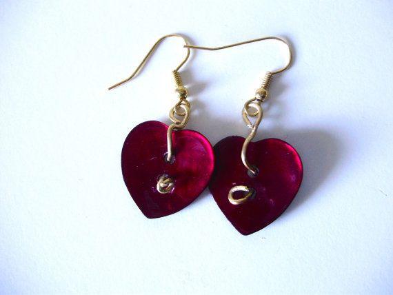 Orecchini cuore in madreperla realizzati a mano/rosso/tango/idea regalo, by ARTISTICAMENTE MARI, 13,90 € su misshobby.com