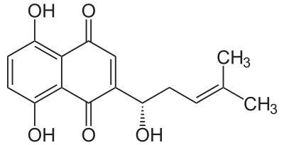 Skeletal formula of alkannin