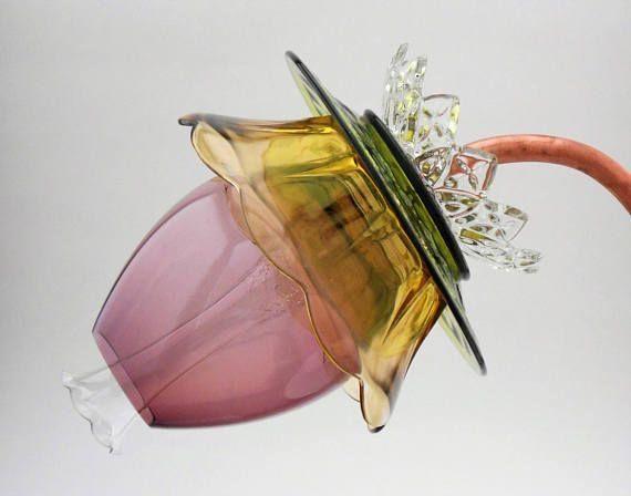 Handmade Glass plate flower garden art / Yard art from vintage by cornelia