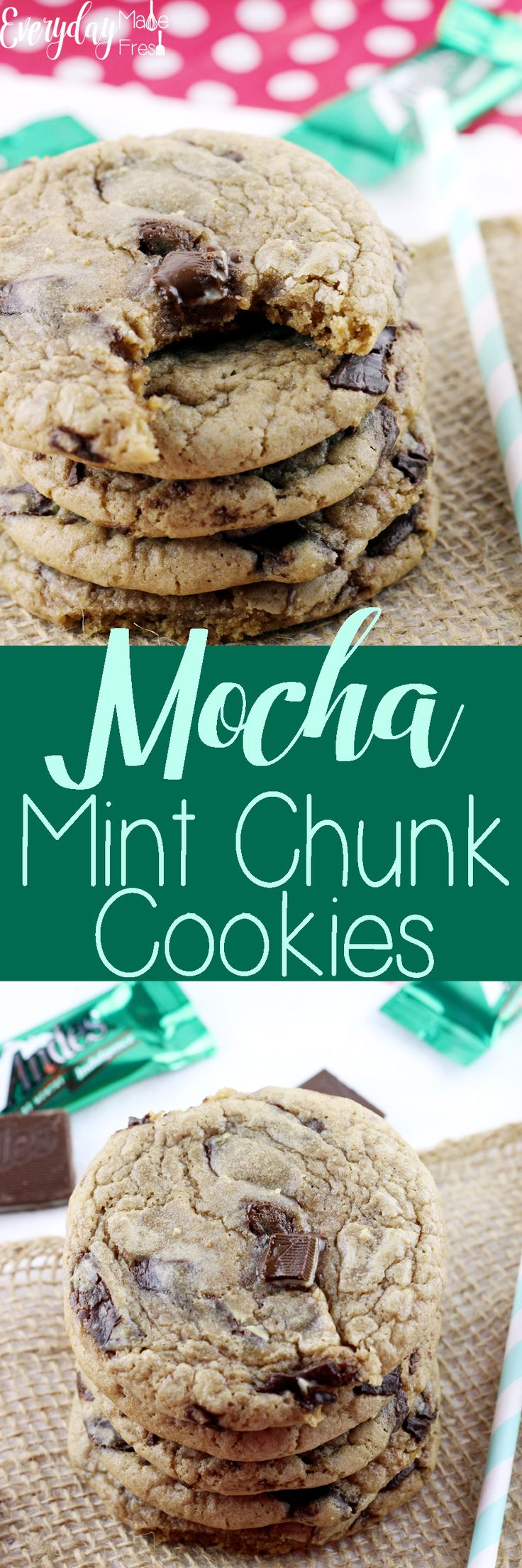 Hints of coffee, chunks of chocolate mint candies, and a chewy texture that will have you coming back for more. These Mocha Mint Chocolate Chunk Cookies are one of my personal favorites!  http://www.everydaymadefresh.com/mocha-mint-chocolate-chunk-cookies/