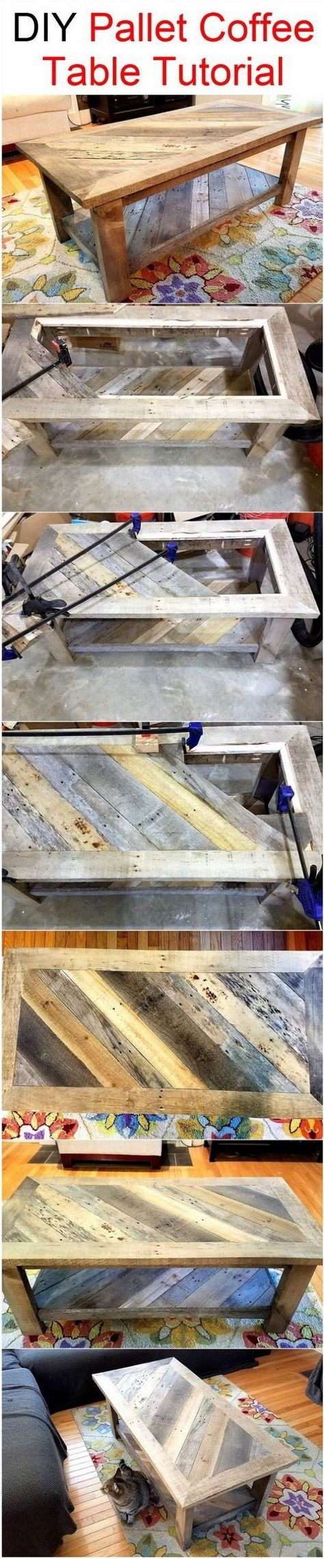 DIY Pallet Coffee Table. Pallet furniture is very popular these days. Here is another version to make a coffee table from shipping pallets for your inspiration.