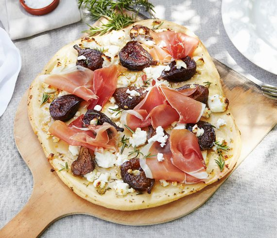 Pickled Fig, Prosciutto and Goats' Cheese Pizzas