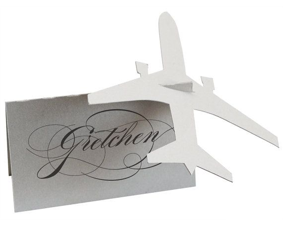 Airplane Escort Cards      PRICES:  $1 per escort card  Printed guest names are an additional 75¢ per place card.  Printed table numbers are an
