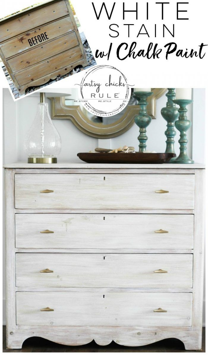 White Stain Dresser So Simple With Chalk Paint Artsy Chicks Rule White Stained Dresser Stained Dresser Dresser Makeover Chalk Paint