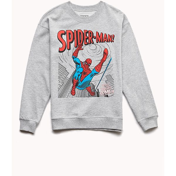 Forever 21 Women's Classic Spiderman Sweatshirt ($14) ❤ liked on Polyvore featuring tops, hoodies, sweatshirts, sweaters, long sleeves, shirts, sweatshirt, long sleeve sweatshirts, forever 21 sweatshirts and heathered shirt