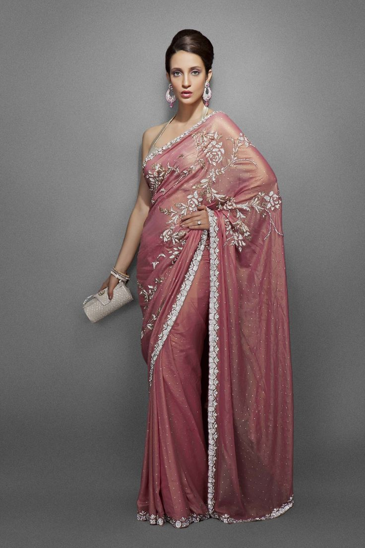 Peach woven gold sari with silver & light gold floral jaal & border