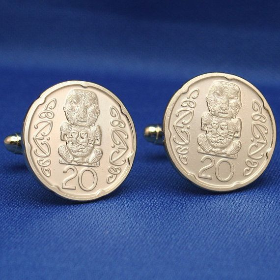 Pukaki Maori Carving New Zealand 20c Coin Cufflinks.