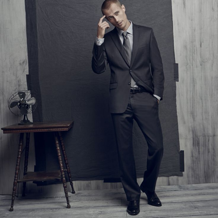 Step 1: Pick a suit. Step 2: Add a dress shirt.  Step 3: Finish with a silk tie.
