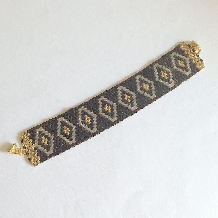 Bracciale fascia Diamante marrone oro e avorio con perline : Braccialetti di lapietrabludiavalon