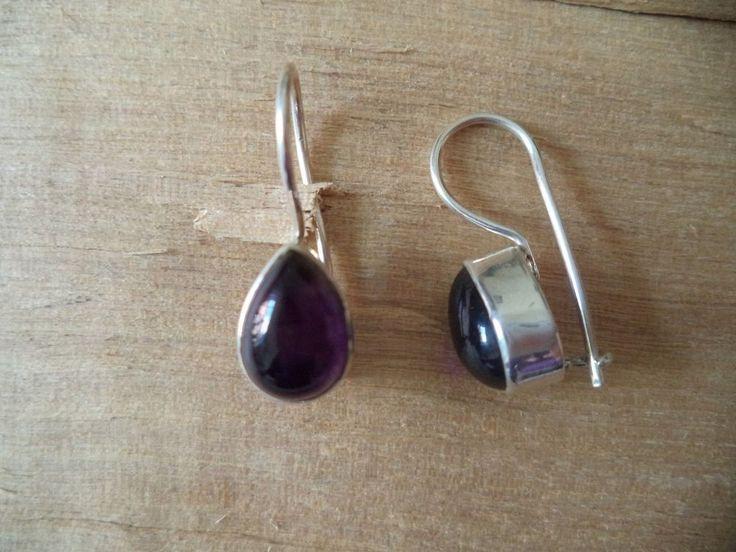 Ohrringe Silber 925 Sterlingsilber Amethyst Tropfen Hänger Lila h10