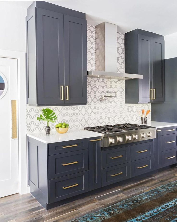 Navy Blue Cabinets Stone Textiles Kitchen