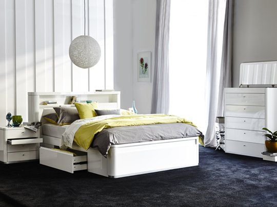 tivoli queen storage bed frame stylish curved design with fantastic storage beneath the bed and - Queen Bed Frames With Storage