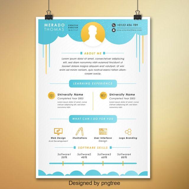 جميل ملون تصميم السيرة الذاتية Cv Design Template Resume Design Banner Ads