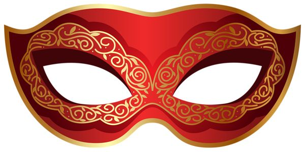 Red and Gold Carnival Mask PNG Clip Art Image