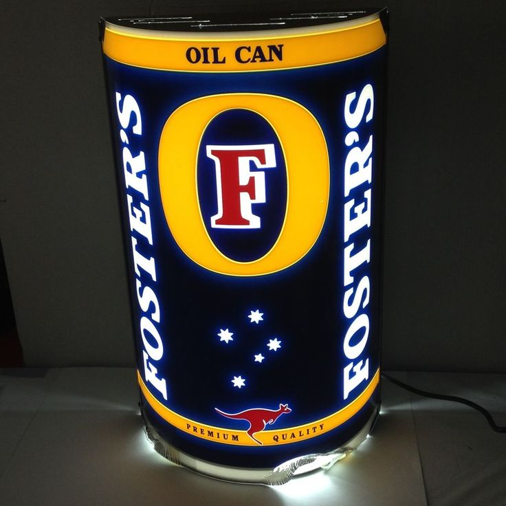 FOSTERS Beer Oil Can Electric WALL SIGN Lighted Bar Store Display Man Cave Decor
