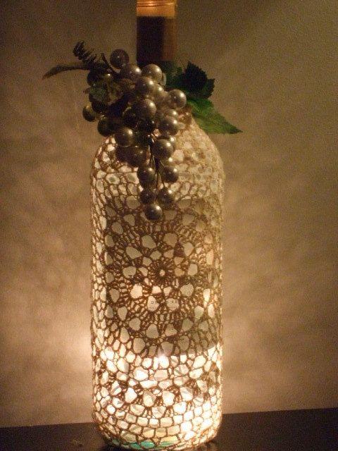 Crocheted wine bottle cover.