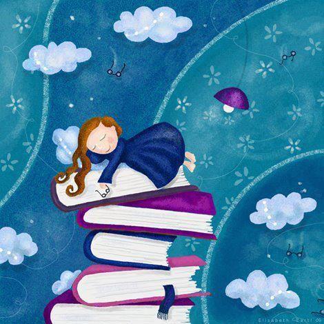 'WHEN I DREAM of FAIRYTALES' © Elizabeth ZARTL (Artist. Vienna, Austria) aka libelle via DeviantArt. Digital Art . Paintings & Airbrushing. Illustrations. Storybook. Stack of Books, Clouds, Sleeping Girl, Reading Glasses.