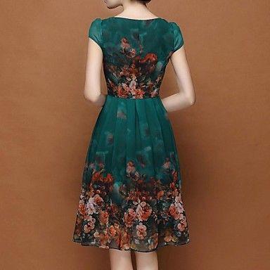 Vrouwen plus size bloemen donkergroene jurk, casual swing ronde hals bladerdeeg…