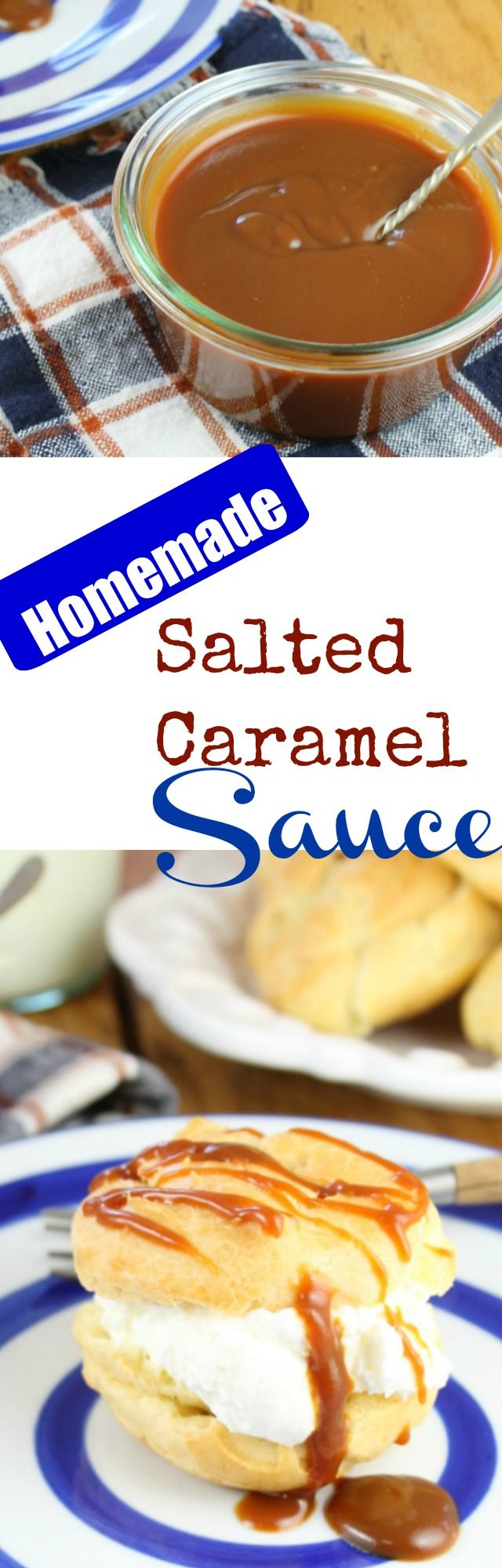 Homemade Salted Caramel Sauce is a simple dessert sauce recipe to elevate your favorite desserts into something spectacular! Recipe at MissintheKitchen.com