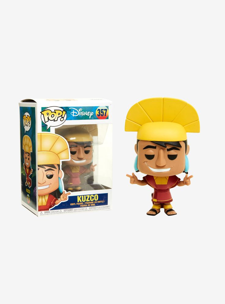 """The sneaky teenaged emperor Kuzco, from Disney's  The Emperor's New Groove , is given a fun, and funky, stylized look as an adorable collectible Pop! vinyl figure from Funko!   Pop! Disney 357  3 3/4"""" tall  Vinyl  Imported  By Funko"""