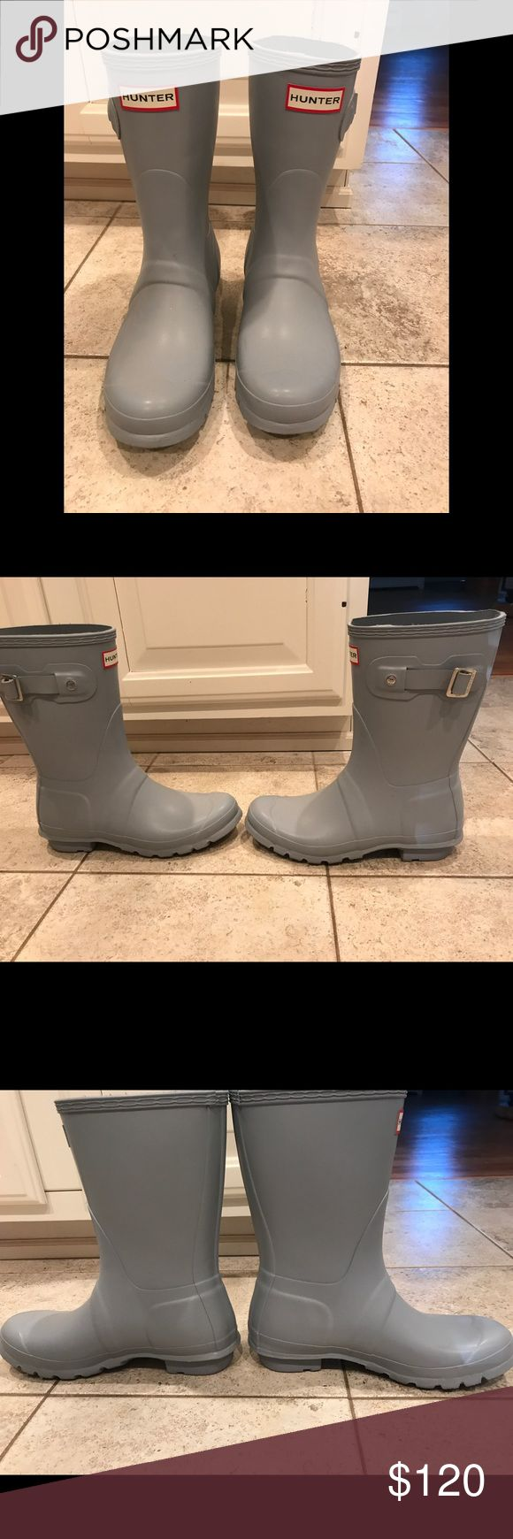 Hunter Rain Boots Never worn, short sky blue Hunter Rain Boots. New without box. No lowball offers will be accepted. Hunter Shoes Winter & Rain Boots