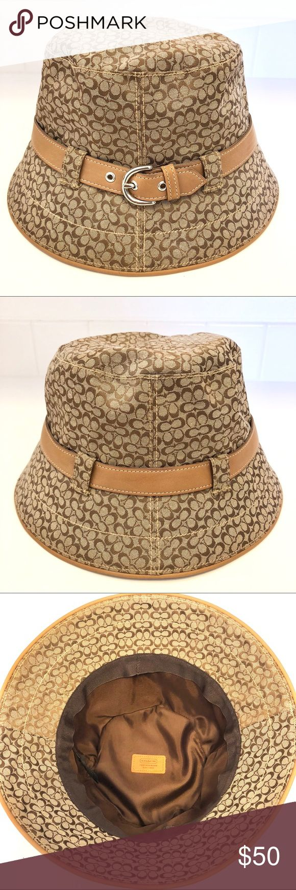 Coach signature print bucket hat True confessions, I love to buy hats but I never wear them. This signature print coach hat is trimmed in leather and would be perfect for a European vacation! It's never been worn so it's in new condition and collapses flat so it would be easy to pack. NWOT. Coach Accessories Hats