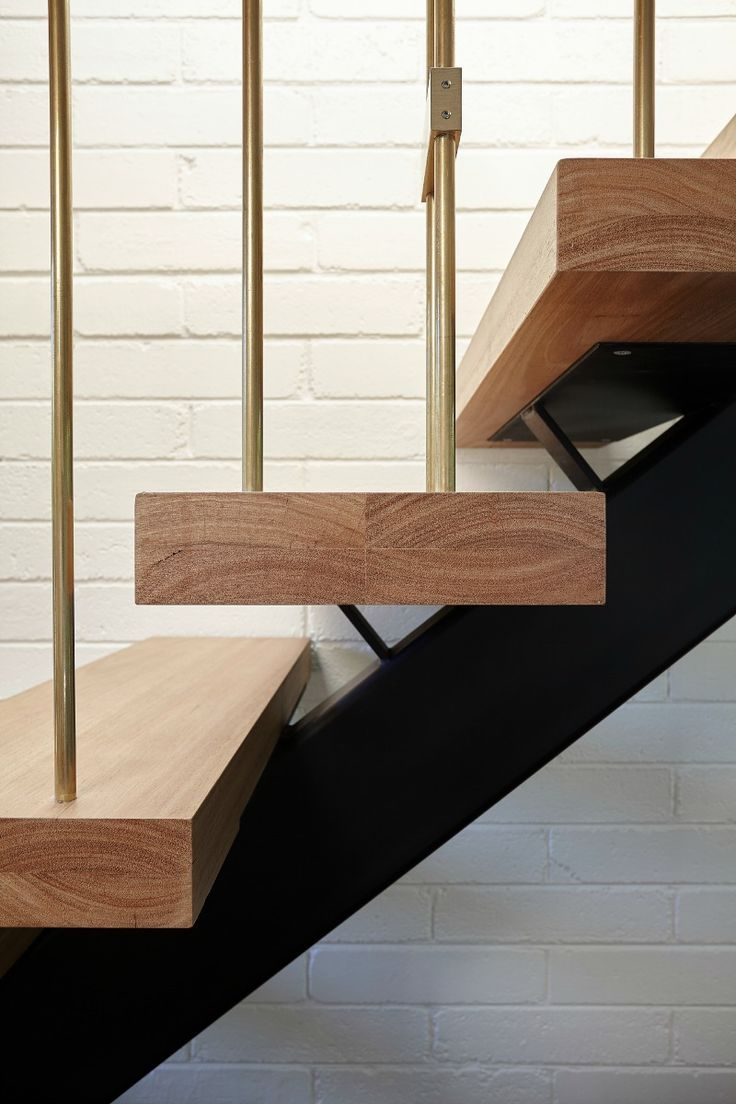 Brass and oak staircase