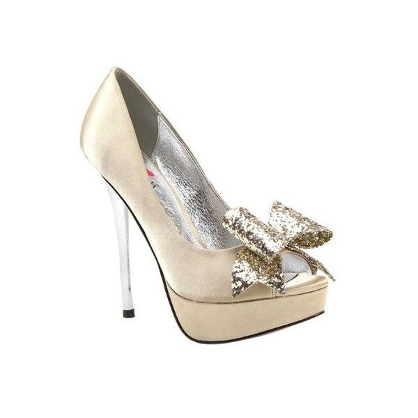Women's Luichiny Kissy Kiss Peep Toe Stiletto (105 PLN) ❤ liked on Polyvore featuring shoes, pumps, dresses, heels, low heel pumps, heels stilettos, stiletto pumps, bow pumps and metallic pumps