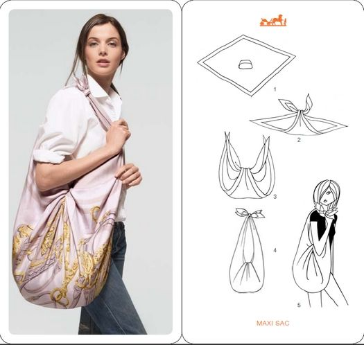 The Sewing: DIY Fashion: Do you know how to tie a knot?  Making a bag out of a square scarf.