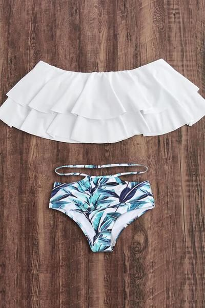 30bb909b88d61 Floralkini White Off The Shoulder Ruffle Bikini Top X Leaves Print Bikini  Bottom