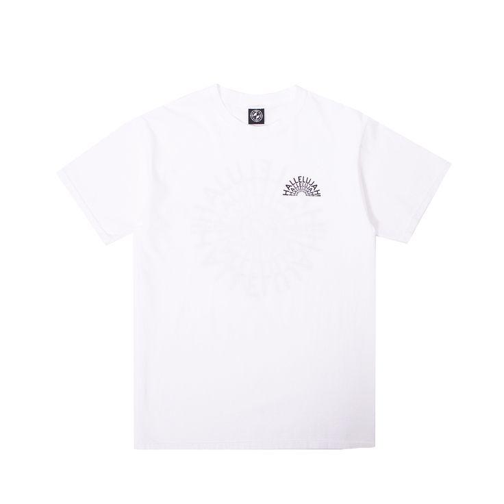 Premium cotton Powers Hallelujah T-Shirt done by New York based artist/designer Eric Elms alongside Los Angeles based artist/designer, Kyle Ng of Brain Dead! The Power is strong... Hallelujah.