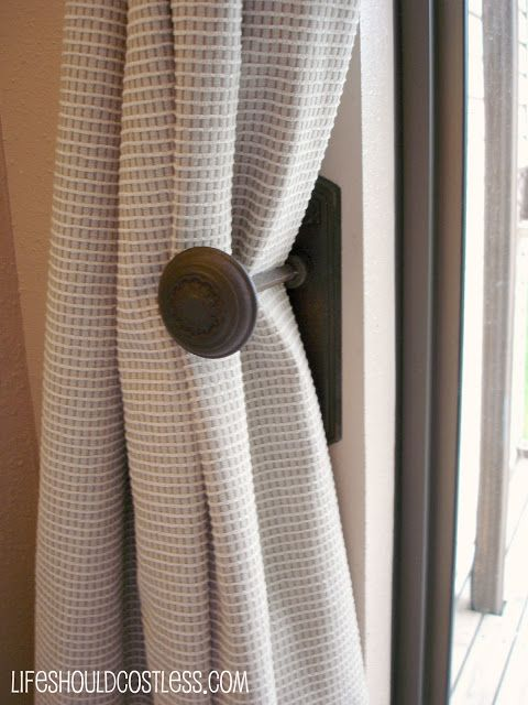 Antique Doorknobs as Drape Tie backs. How to install them but keep the option of their intended purpose.
