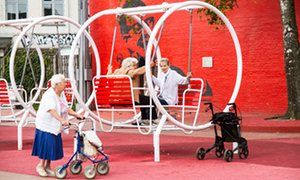 elderly women enjoying the playground in the Superkilen park in Norrebro
