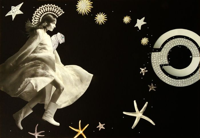 Fierce woman running towards a source of stars in the sky and star fish, on black background.
