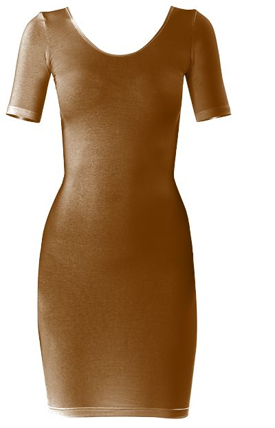 Rich looking SIENNA BROWN BODYCON DRESS by Khoncepts