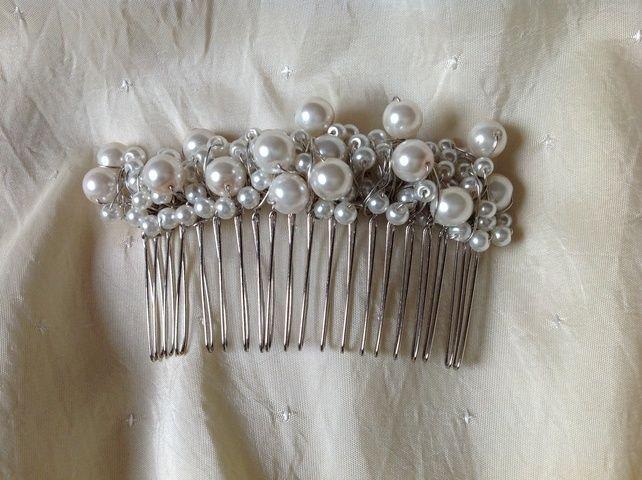 Bridal Hair Comb Hair Slide White Handmade - Wedding Hair Slide -Kerry  £25.00